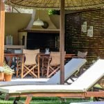 Sunbeds and Sun umbrellas in Skiathos Villa Jasmin